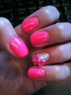 Love these! Pink bow nails
