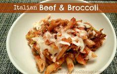 Italian Beef & Broccoli casserole.  Easy and yummy!  #thrivelife #freezedried #groundbeef #mozzarella #pasta