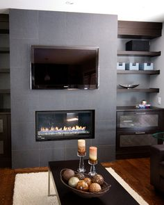 floating shelves and drawer units - Linear Fireplace Design Ideas, Pictures, Remodel, and Decor - page 5