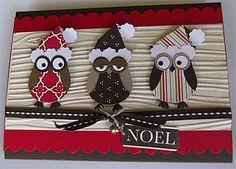 Noel Owls Card @georgia lin. lin. Meehan...this is so cute Christmas Paper Crafts, Homemade Christmas Cards, Christmas Owls, Homemade Cards, Handmade Christmas, Xmas Cards, Holiday Cards, Owl Punch Cards, Karten Diy