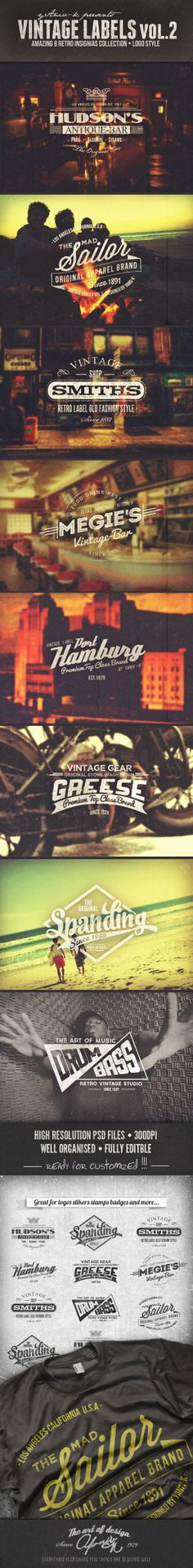 Vintage Labels Vol.2 by yaniv kamak, via Behance