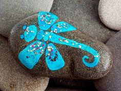 Shimmery Dragonfly / Painted Rock / Sandi Pike Foundas / Sea Stone from Cape Cod via Etsy