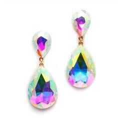 Aurora Borealis Crystal Teardrop Dangle Earrings