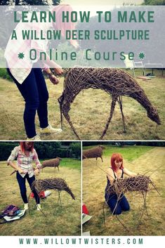 New online willow sculpture course. Learn how to make a willow deer sculpture. Learn about the tools and equipment needed. Garden Crafts, Garden Projects, Garden Art, Garden Design, Driftwood Sculpture, Sculpture Art, Deco Bobo, Willow Garden, Twig Art