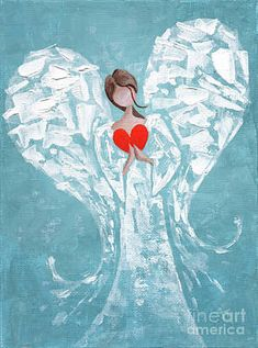 Heart Painting - Heard On High Angel - Blue Heart by Annie Troe Angel Artwork, Angel Drawing, Heart Painting, Angel Pictures, Pallet Art, Painted Rocks, Painting & Drawing, Art Drawings, Canvas Art
