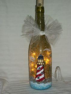 Hand painted lighthouse bottle light by BamaLadyCrafts on Etsy, $35.00