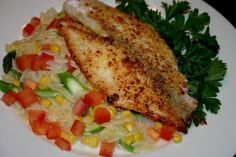 Parmesan Encrusted Tilapia over Orzo Pasta with Vegetables in a Light Butter Sauce Orzo Pasta Recipes, Vegetable Pasta, Butter Sauce, Tilapia, Fish And Seafood, Parmesan, Dishes, Meat, Chicken