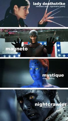 X-Men movie saga characters (Marvel comic book's superheroes & supervillains) and their main superhuman powers.