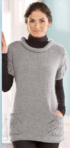 Вязание для женщин.  Вязаный пуловер с ажурными карманами и рукавами. Модель 147
