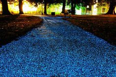 Glow-in-the-Dark Pavement?  A British-based company has come up with a way to turn park paths into glow-in-the-dark thoroughfares that double as energy-efficient works of art. Created by Pro-Teq, Starpath is a sprayable coating of light-absorbing particles that harvests ultra-violet rays from the sun during the day and dramatically lights up like a starry sky at night. The veneer is non-reflective, anti-slip and waterproof, and can be applied to cement, wood, tarmac or other solid surfaces.