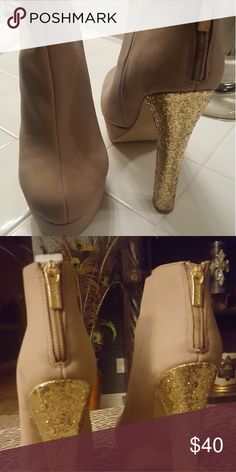 Victoria secret boots (New) Never worn Tan with gold sparkling heel..perfect for New Year's eve party Victoria secret Shoes Ankle Boots & Booties