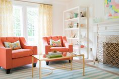 bright, colorful living room | style me pretty