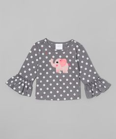 Love this Silver Polka Dot Elephant Ruffle Tee - Infant & Toddler by Victoria Kids on #zulily! #zulilyfinds