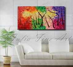 abstract landscape painting, original large abstract art, tree painting, forest, autumn, colorful, folk art, blue, pik, yellow, purple, zen by juliaapostolova. Explore more products on http://juliaapostolova.etsy.com