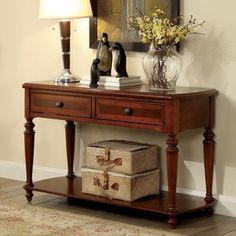 Furniture of America Remmy Classic 2-drawer Turned Walnut Sofa Table | Overstock.com Shopping - The Best Deals on Coffee, Sofa & End Tables