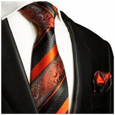 Fiery Orange and Black Silk Tie Set by Paul Malone Red Line