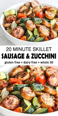Skillet Sausage and Zucchini is a healthy and satisfying meal! This perfectly seasoned mix of zucchini, sausage, onions and peppers. compliant, dairy-free, gluten-free and additional full of f Pork Recipes, Paleo Recipes, Cooking Recipes, Healthy Zucchini Recipes, Healthy Delicious Recipes, Healthy Sausage Recipes, Whole 30 Chicken Recipes, Healthy Food Recipes, Healthy Italian Recipes