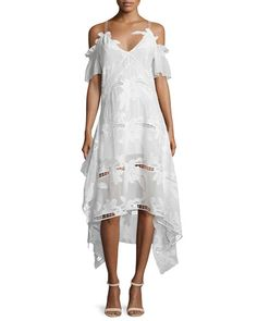 TBWVS Self Portrait Embroidered Off-the-Shoulder Midi Dress, White
