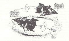 ze achtervolgen elkaar met dreigingen van atoombommen, dat laat dit plaatje ook zien