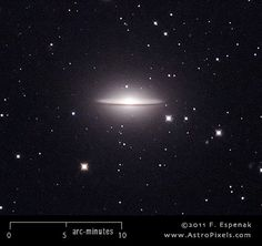 M104 (commonly known as the Sombrero Galaxy, also designated NGC 4594) is a spiral galaxy in the constellation Virgo. It has an apparent visual magnitude of 8 and its angular diameter is 9x4 arc-minutes. M104 lies at an estimated distance of 50 million light years. It is one of the more famous members of the Messier Catalog.