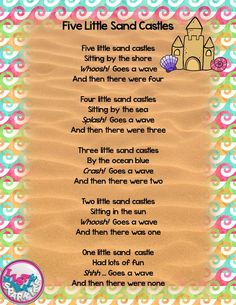 FREE Five Little Sand Castles Summer Poem Finger Play for Preschool