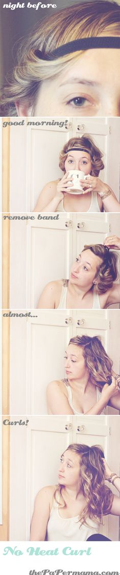 No Heat Curl tutorial. http://thepapermama.com/2011/07/hair-tutorial-no-heat-curl-html.html