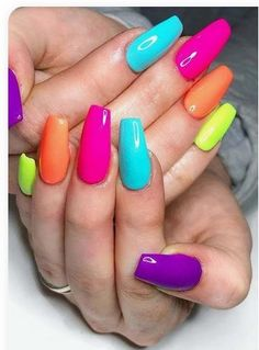 Colorful Nail Art Designs That Scream Summer; Colorful Nail Art Designs That Scream Summer; Colorful Nail Art, Colorful Nail Designs, Nail Art Designs, Multicolored Nails, Nails Design, Neon Nails, My Nails, Rainbow Nails, Neon Nail Art