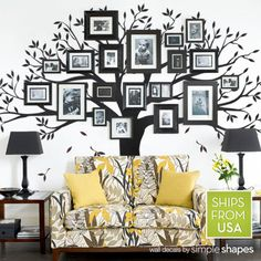 Family Tree Decal Photo Tree Decal Family Tree by SimpleShapes for the family room, I really like this idea