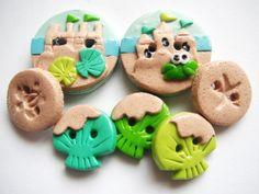 Button Sand Castles handmade polymer clay buttons ( 7 )