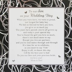 To Our Son On Your Wedding Day This Beautiful Poem Print Conveys The Warm And Nostalgic Sentiments Of A Mom Dad Their S