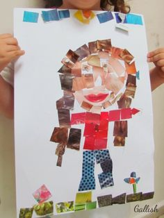 self portrait collage for kids gallish לילדים: פורטרט עצמי - קולאג'