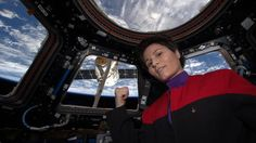 Samantha Cristoforetti takes the most epic sci-fi ever selfie in a Voyager uniform from the ISS.