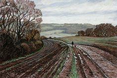 """Path to Hambledon Hill"" by Rob Adams Rob Adams, Environmental Art, Gravure, Art Pages, Natural History, Art And Architecture, Illustration Art, Illustrations, Printmaking"