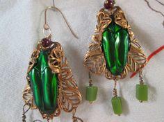 Real beetle earrings  Pagan Queen/Cleopatra by ScreenGems333, $55.00