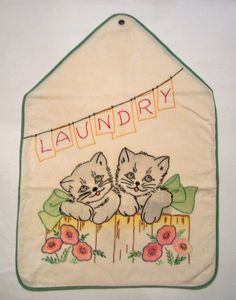 Vintage Embroidery Tinted Child's Laundry Bag w Kitten Motif   eBay