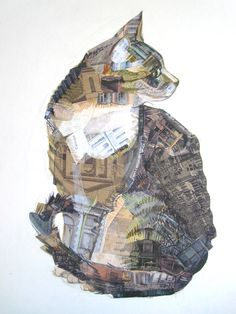 """Portraits of animals made in a technique combining drawing and collages. Award-winner """"Cat of Carouge"""" combines architectural features and animal portraits. Paper Collage Art, Collage Art Mixed Media, Collage Artists, Mixed Media Painting, Mixed Media Canvas, Journal D'art, Newspaper Collage, Art Textile, Cat Drawing"""