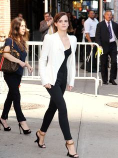 Leaving the Late Show with David Letterman in New York wearing Tom Ford wedges.   - ELLE.com