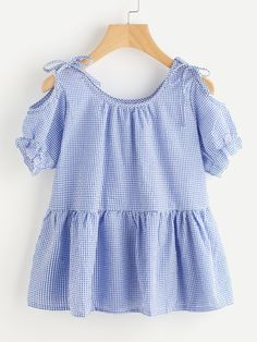 SheIn offers Gingham Open Shoulder Tie Detail Frill Blouse & more to fit your fashionable needs. Trendy Outfits, Cute Outfits, Fashion Outfits, Kids Dress Patterns, Baby Frocks Designs, Southern Outfits, Frill Blouse, Blouse Models, One Piece Dress