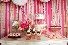 pretty in pink wedding dessert buffet