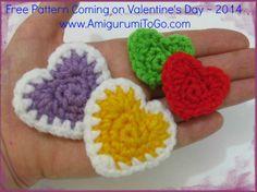 Easy crochet hearts by Amigurumi To Go