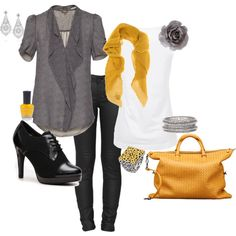 Black jeans and loove the shoes and bag...yellow is everywhere with black and gray and white...I'll be quite the busy bee ;}