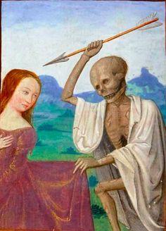 Death striking a young woman @GallicaBnF, NAL 3210 , 16th c.