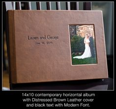 """Leather Craftsmen 3500 14x10 Flush Mounted album. The Cover Inset Photo Mounted  in """"Far Right"""" position. (Source: Denise Cregier Photographer  http://photokinetic.net/blog/?p=619)"""