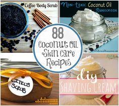 88 Coconut Oil Skin Care Recipes // DeliciousObsessions.com