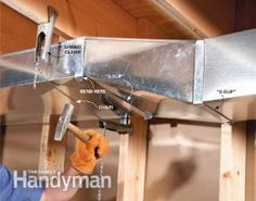 Are you finishing a basement? Install wider, flatter air ducts to save valuable headroom: