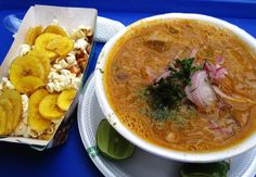 Encebollado is one of our favorite traditional foods here in Ecuador. It's made with made with tuna fish, yuca, cilantro and pickled onions. Yuca Recipes, Gourmet Recipes, Soup Recipes, Vegetarian Recipes, Healthy Recipes, Murcia, Healthy Meals To Cook, Healthy Cooking, Gastronomia