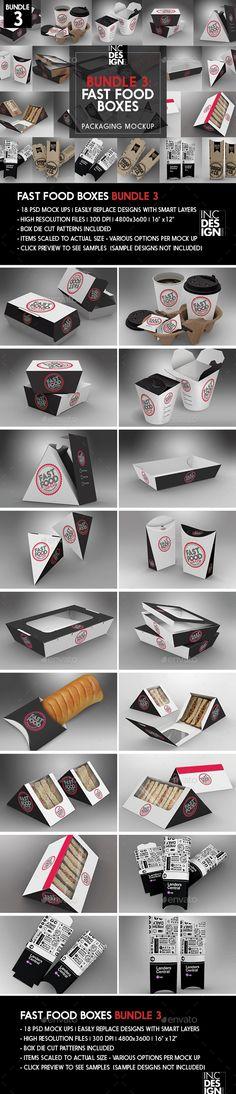 Fast Food Boxes Mock Up Bundle 3