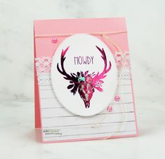 This is a shabby chic style greeting card featuring deer antlers in pink foiling. Sentiment: Howdy For this card, I first stam. Unity Stamps, Deer Antlers, Shabby Chic Style, Copic Markers, Greeting Cards, Nook, Rustic, Handmade Cards, Friendship