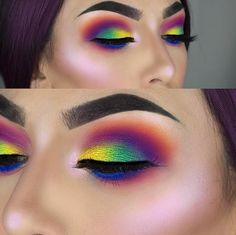 Happy is feeling her rainbow fantasy in a combination of and eyeshadows and eyelashes! Makeup Goals, Makeup Inspo, Makeup Art, Makeup Inspiration, Makeup Ideas, Hair Makeup, Eyeshadow Looks, Eyeshadow Makeup, Makeup Brushes