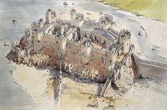Reconstruction of Conwy Castle, Wales, c.1290 AD